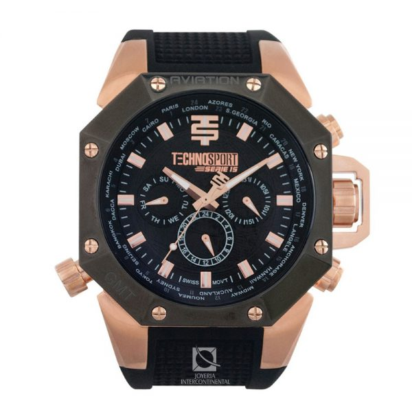 reloj technosport aviation negro con dorado