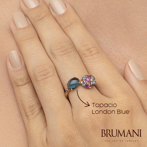 Anillo Brumani con topacio london blue
